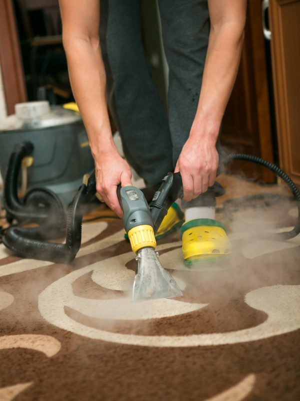 The process of cleaning carpets with a steam vacuum cleaner
